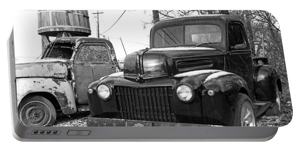 Old Trucks Portable Battery Charger featuring the photograph Forties Ford Pickup by Jim Smith