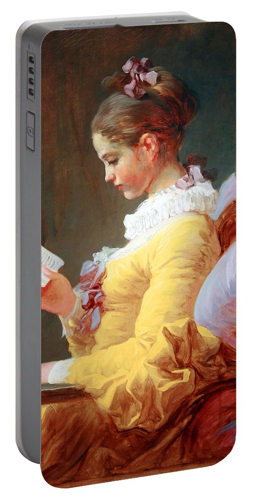 Young Girl Ready Portable Battery Charger featuring the photograph Fragonard's Young Girl Reading by Cora Wandel