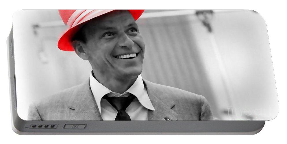 Sinatra Digital Art Mixed Media Portable Battery Charger featuring the mixed media Frank Sinatra by Marvin Blaine