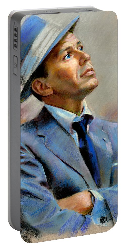 Francis frank Sinatra Portable Battery Charger featuring the pastel Frank Sinatra by Ylli Haruni