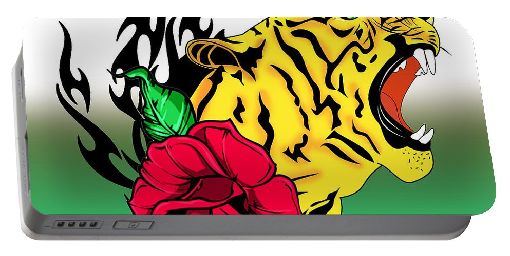 Tiger Portable Battery Charger featuring the digital art Freak Tiger by Mark Ashkenazi
