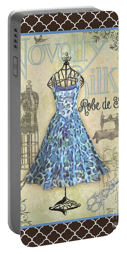 Digital Art Portable Battery Charger featuring the digital art French Dress Shop-b1 by Jean Plout