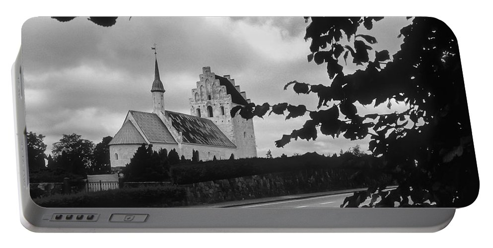 Froslev And Elswhere Denmark Danish Church Churches Building Buildings Structure Structures Steeple Steeples Place Places Of Worship Architecture Landscape Landscapes Black And White Portable Battery Charger featuring the photograph Froslev And Elswhere 2 by Bob Phillips