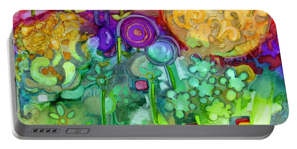 Abstract Floral Portable Battery Charger featuring the painting Garden Sunset by Vicki Baun Barry