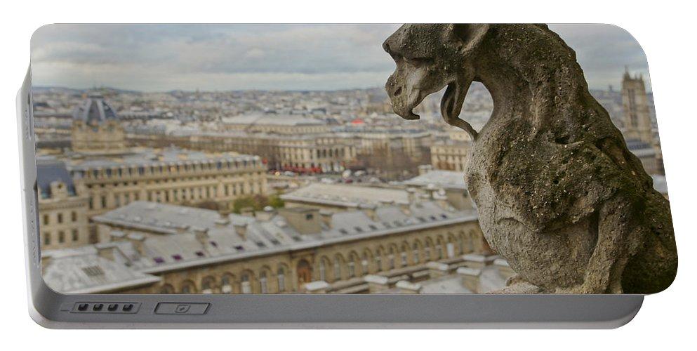 Gargoyle Portable Battery Charger featuring the photograph Gargoyle Overlooking Paris by Brian Kamprath