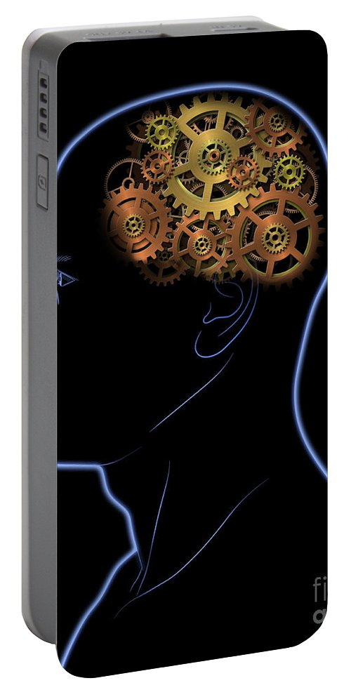 Head Portable Battery Charger featuring the digital art Gears In The Head by Michal Boubin