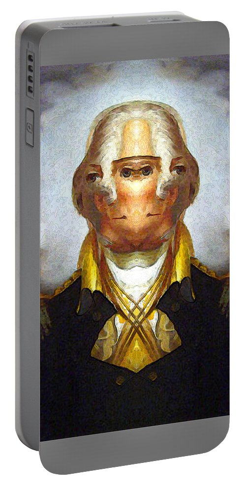 Portable Battery Charger featuring the digital art George Washington by Zac AlleyWalker Lowing