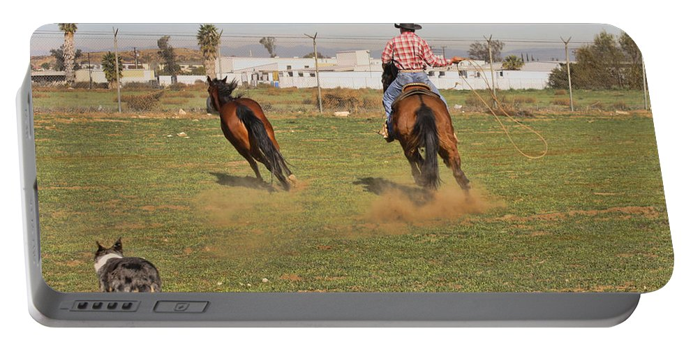 Horses Portable Battery Charger featuring the photograph Get Him by Tommy Anderson