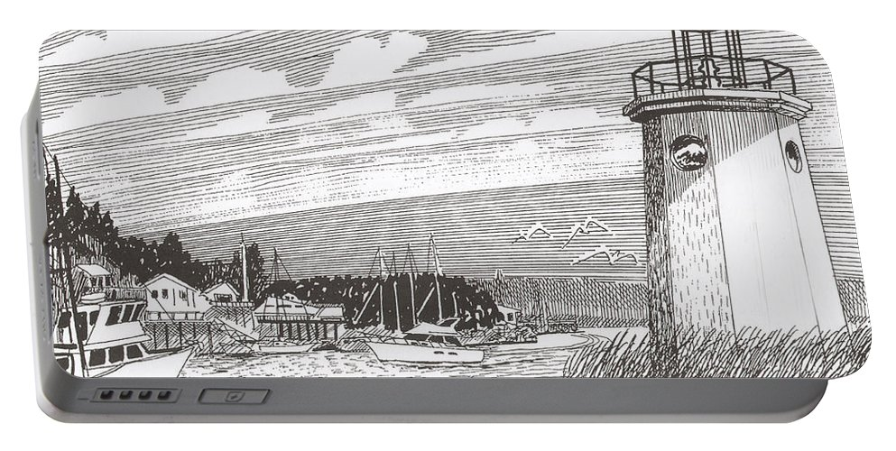 Lighthouse Art Portable Battery Charger featuring the drawing Lighthouse Gig Harbor Entrance by Jack Pumphrey