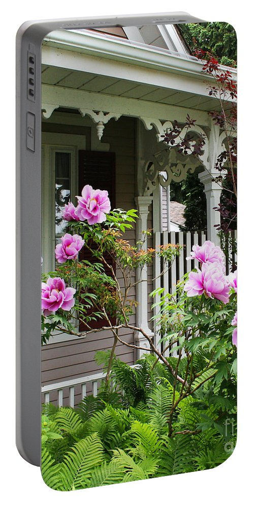 Flower Portable Battery Charger featuring the photograph Gingerbread And Tree Peonies by Barbara McMahon