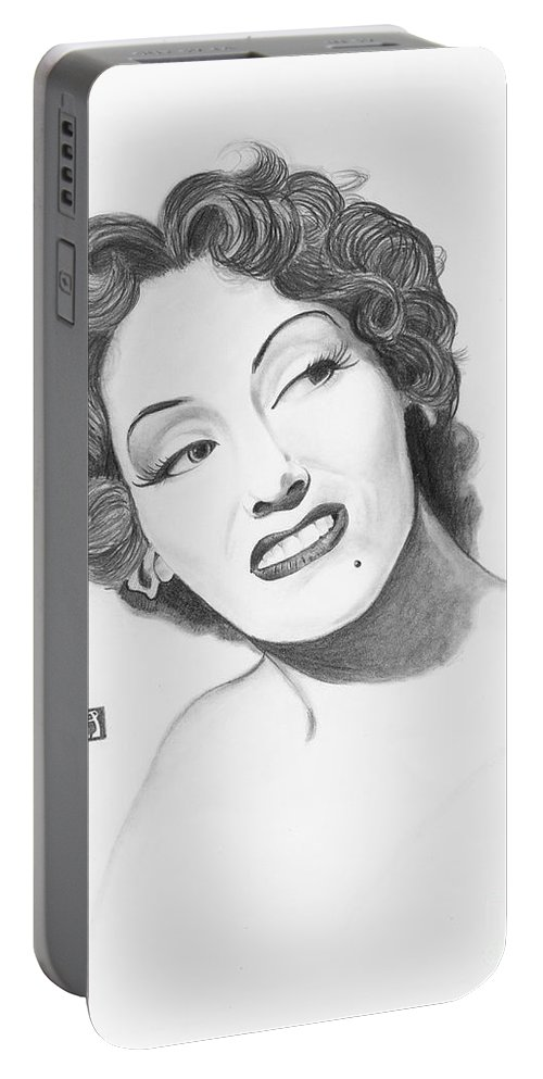 Gloria Swanson Portable Battery Charger featuring the painting Gloria Swanson by Melissa A Benson