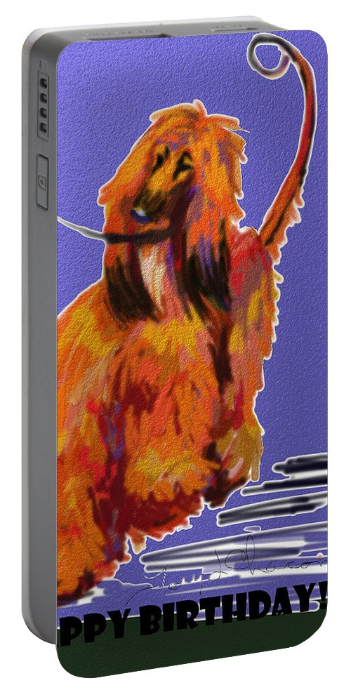 Ipad Finger Painting Portable Battery Charger featuring the painting Go Red Go by Terry Chacon