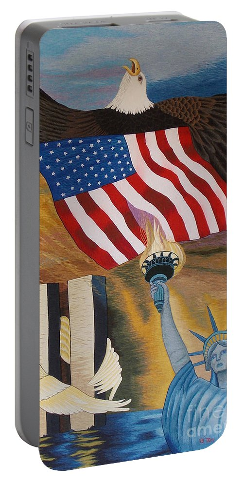 Twin Tower Portable Battery Charger featuring the tapestry - textile God Bless America Hand Embroidery by To-Tam Gerwe