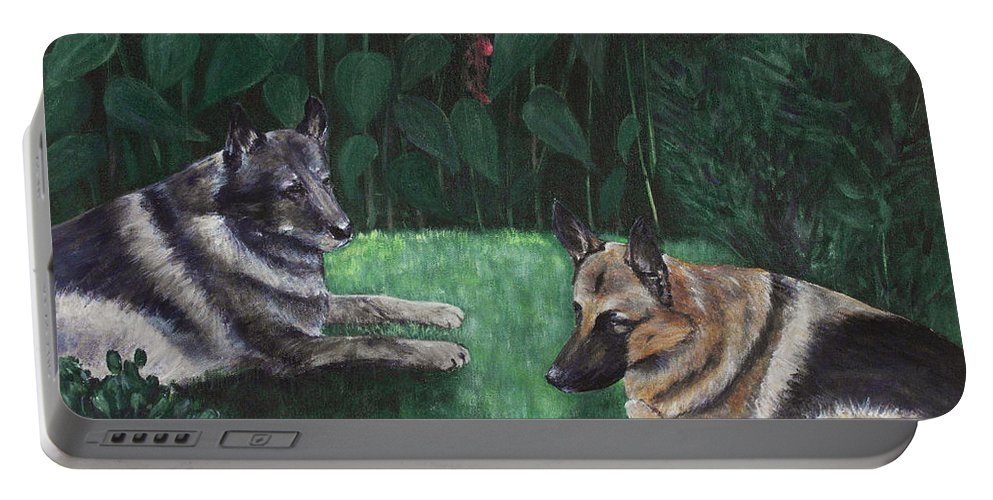 Old Portable Battery Charger featuring the painting Good Friends by Anastasiya Malakhova