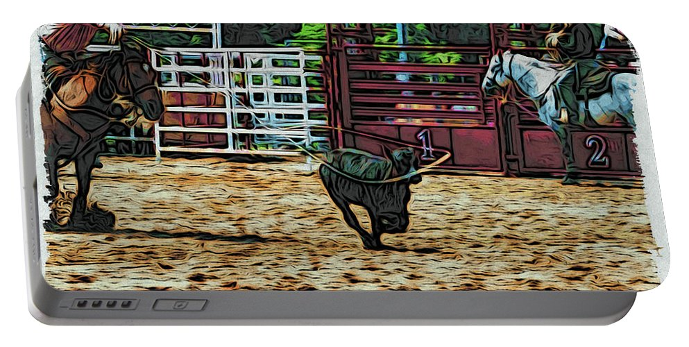 Calf Roping Portable Battery Charger featuring the photograph Gotcha by Alice Gipson