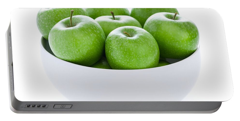 Apples Portable Battery Charger featuring the photograph Green Granny Smith Apples by Lee Avison