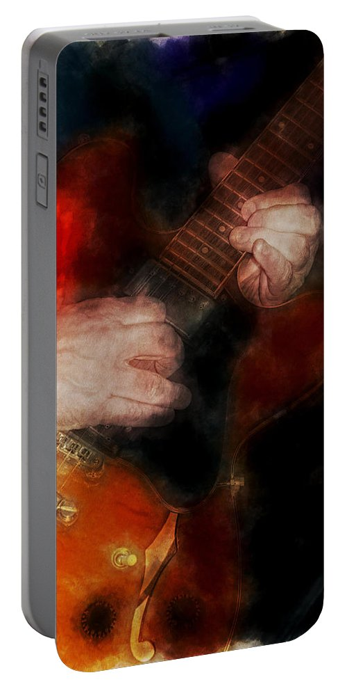 Band Portable Battery Charger featuring the photograph Guitar Traveling Pigments by David Lange