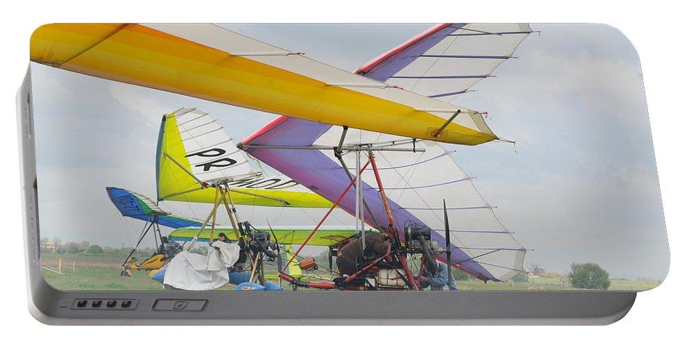 Hang Gliding Portable Battery Charger featuring the photograph Hang Gliding by Tatyana Baykusheva