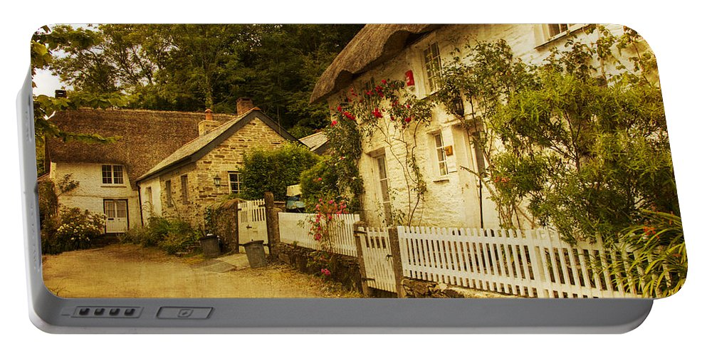 Architecture Portable Battery Charger featuring the photograph Helford Cottages by Brian Roscorla