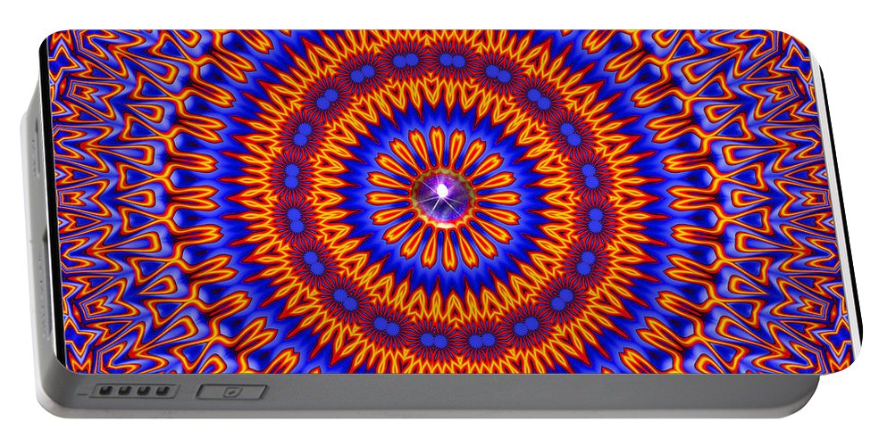 Colorful Portable Battery Charger featuring the digital art High Society- by Robert Orinski