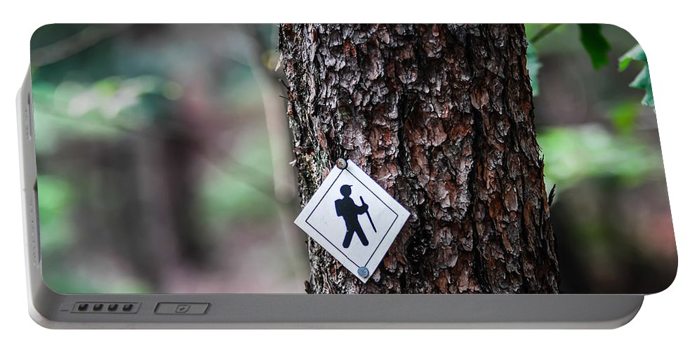 Activity Portable Battery Charger featuring the photograph Hiking Trail Sign On The Forest Paths by Alex Grichenko