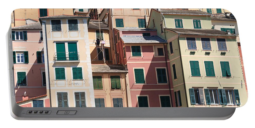 Architecture Portable Battery Charger featuring the photograph homes in Camogli by Antonio Scarpi