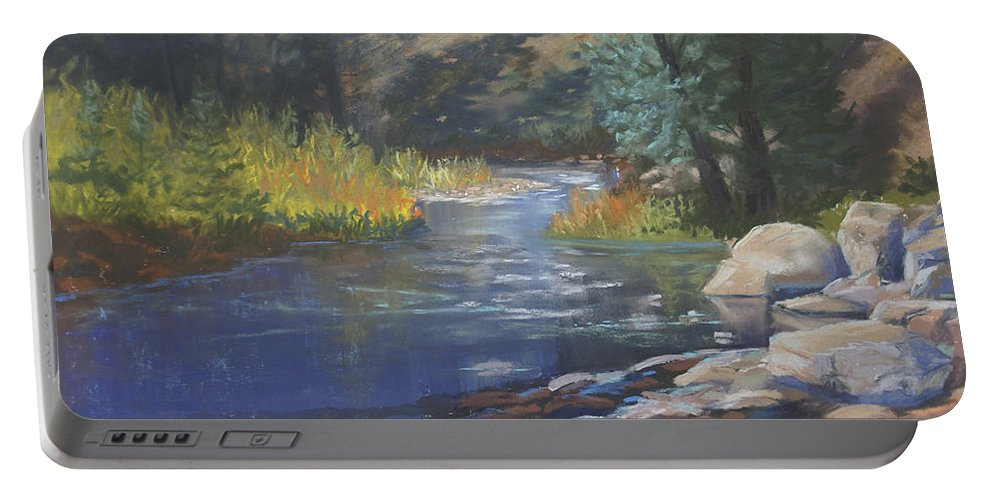 Horse Creek Portable Battery Charger featuring the painting Horse Creek by Heather Coen