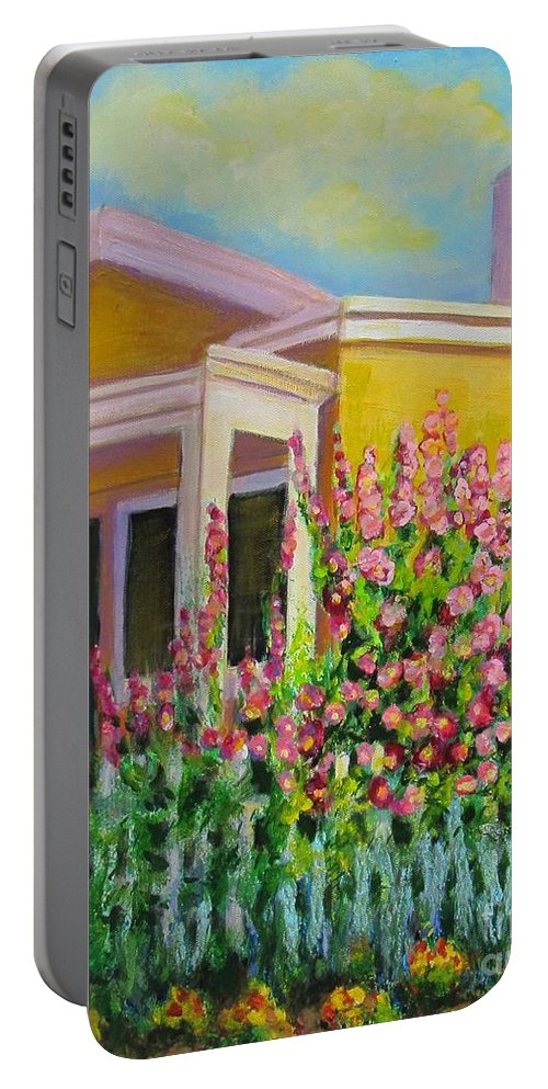 Hollyhock Portable Battery Charger featuring the painting Hot Hollyhocks by Laurie Morgan