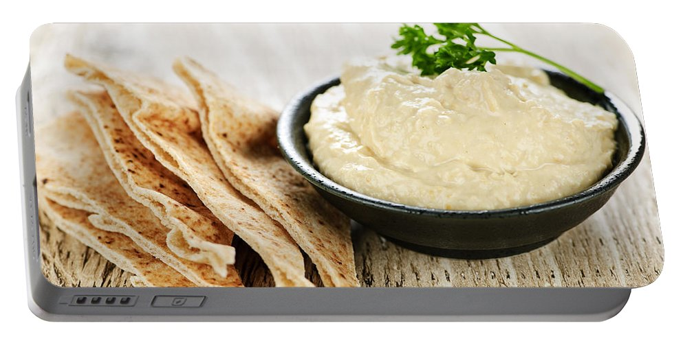 Hummus Portable Battery Charger featuring the photograph Hummus With Pita Bread by Elena Elisseeva