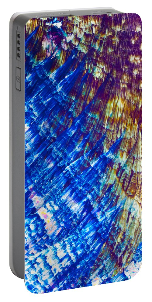 4-diol Portable Battery Charger featuring the photograph Hydroquinone Microcrystals Color Abstract Art by Stephan Pietzko