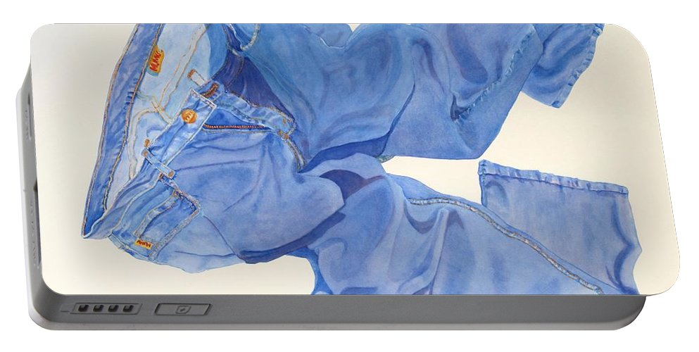 Blue Portable Battery Charger featuring the painting Watercolor  I Love My Jeans by Mary Ellen Mueller Legault
