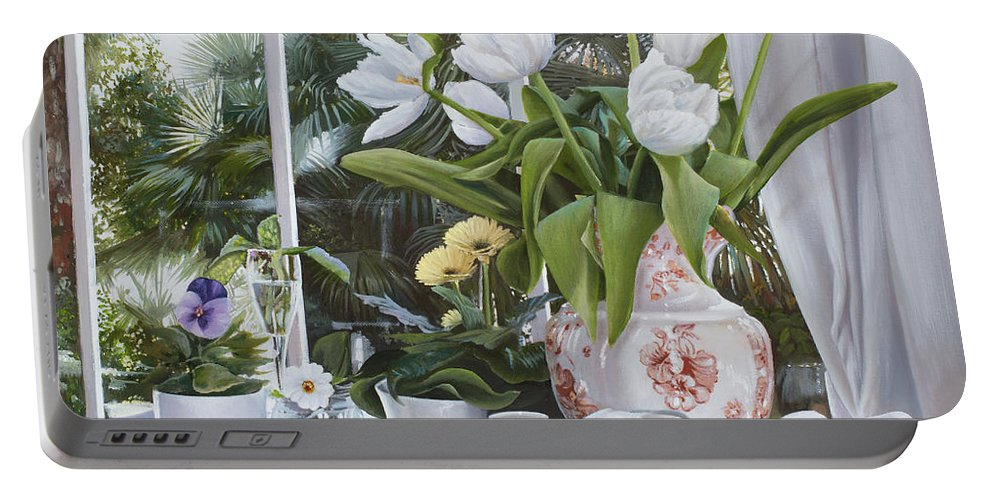 Tent Portable Battery Charger featuring the painting I Tulipani Di Veronique by Danka Weitzen
