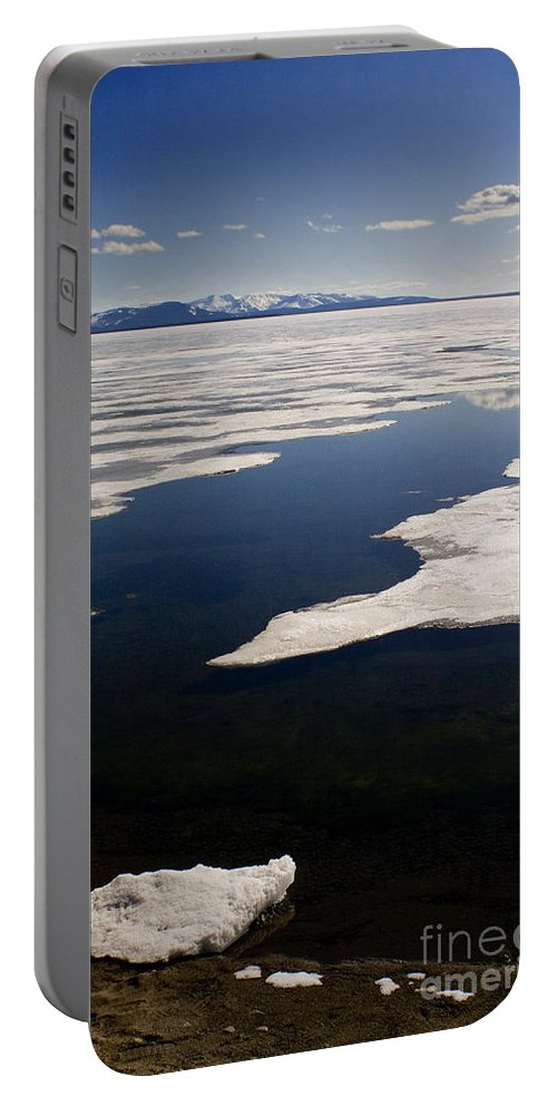 Yellowstone Lake Portable Battery Charger featuring the photograph Ice On Yellowstone Lake by J L Woody Wooden