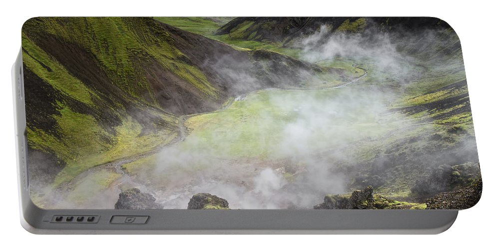 Reykjadalur Portable Battery Charger featuring the photograph Iceland Steam Valley by For Ninety One Days