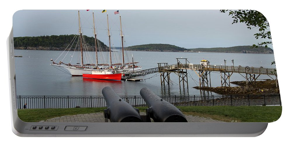 Schooner Portable Battery Charger featuring the photograph In The Line Of Fire by Christiane Schulze Art And Photography