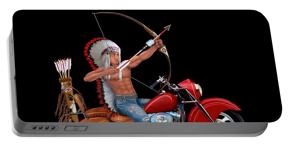 Motorcycle Portable Battery Charger featuring the photograph Indian Forever by Glenn Holbrook