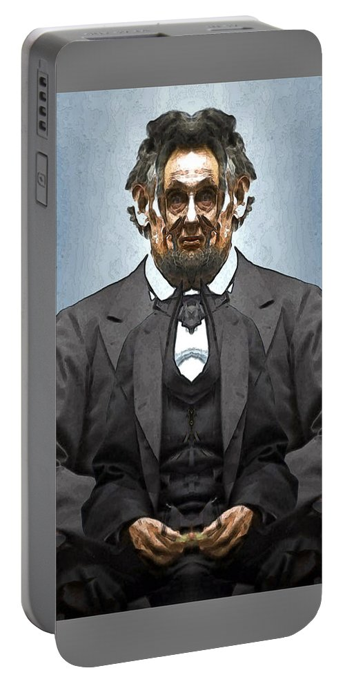 Portable Battery Charger featuring the digital art Inner Lincoln by Zac AlleyWalker Lowing