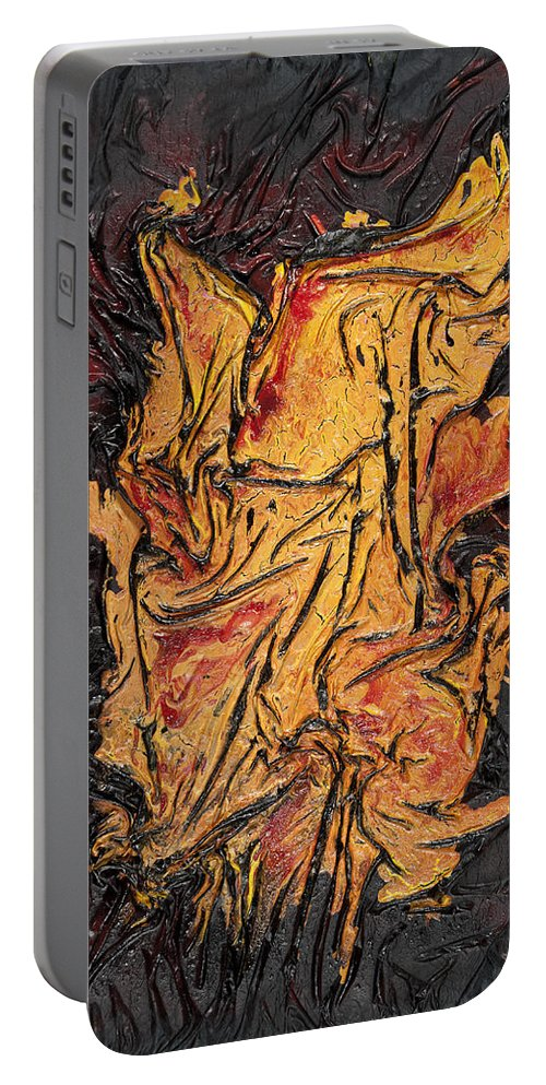 Abstract Portable Battery Charger featuring the mixed media Internal Fire by Angela Stout