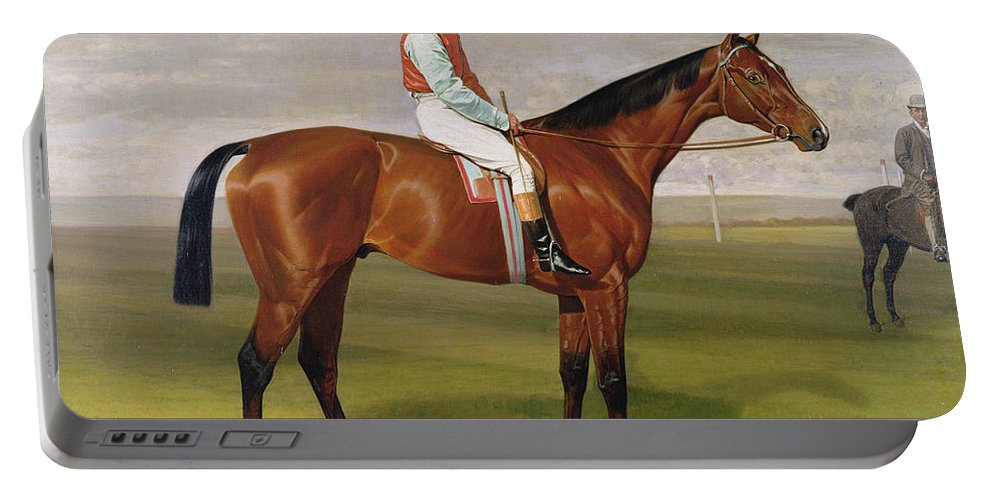 Racehorse Portable Battery Charger featuring the painting Isinglass Winner Of The 1893 Derby by Emil Adam