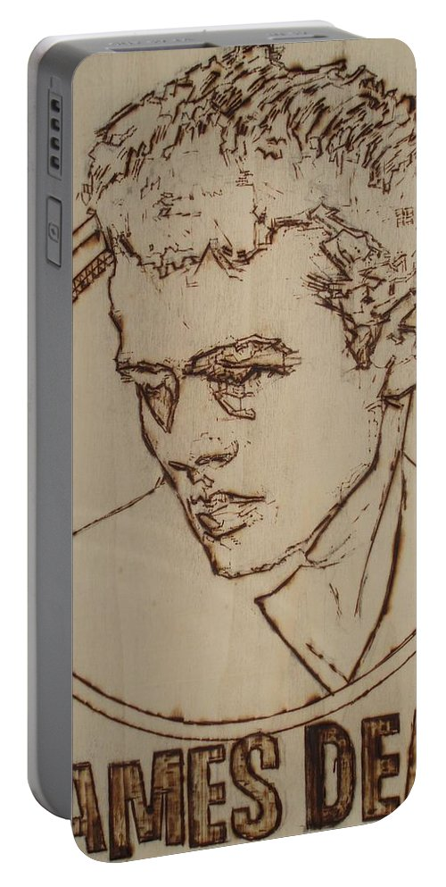 Pyrography;wood Burned;wood Burning;icon;legend;actor;americana;classic;hollywood;rebel;young Portable Battery Charger featuring the pyrography James Dean by Sean Connolly