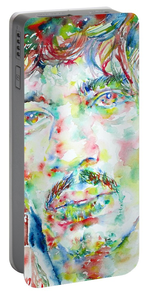 Jimi Portable Battery Charger featuring the painting Jimi Hendrix Watercolor Portrait.1 by Fabrizio Cassetta