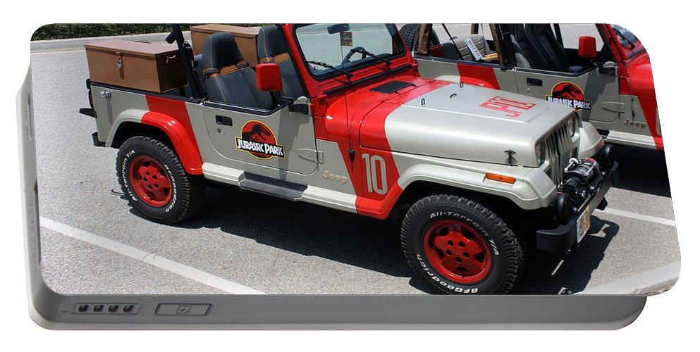 Jeep Portable Battery Charger featuring the photograph Jurassic Park Jeeps by Tommy Anderson