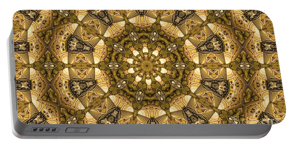 Kaleidoscope Portable Battery Charger featuring the digital art Kaleidoscope 45 by Ron Bissett