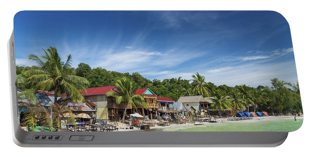 Asia Portable Battery Charger featuring the photograph Koh Rong Island Beach Bars In Cambodia by Jacek Malipan