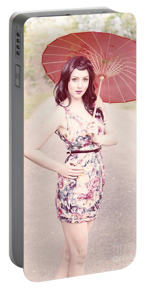 Bright Portable Battery Charger featuring the photograph Lady With Red Parasol by Jorgo Photography - Wall Art Gallery