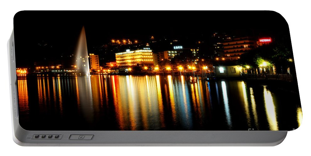 Lake Portable Battery Charger featuring the photograph Lake At Night by Mats Silvan