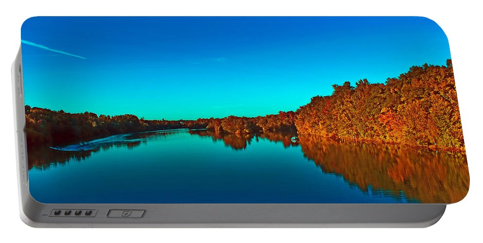 Autumn Portable Battery Charger featuring the photograph Lake Reflections by Alex Grichenko