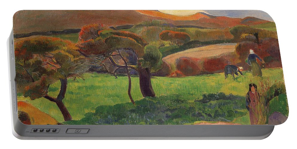 Paul Gauguin Portable Battery Charger featuring the painting Landscape From Bretagne by Paul Gauguin