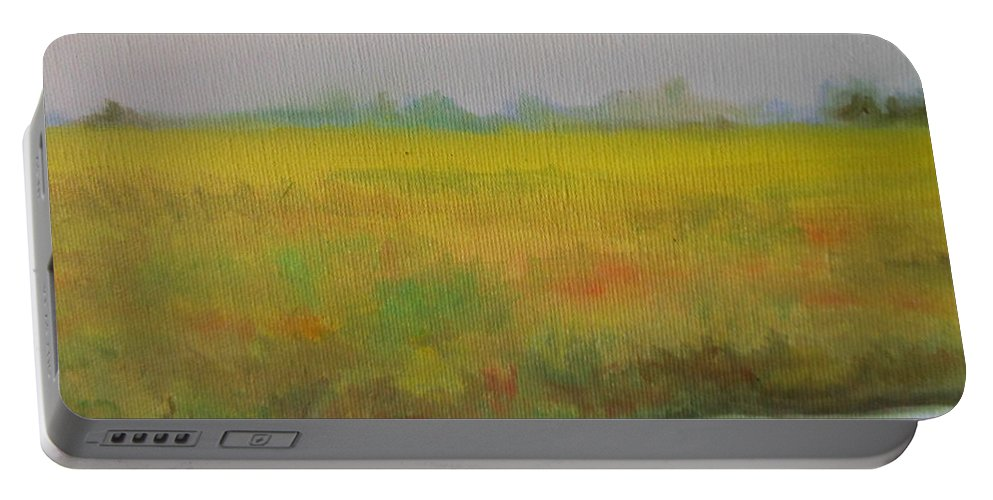 Abstract Portable Battery Charger featuring the painting Landscapre by Lord Frederick Lyle Morris - Disabled Veteran