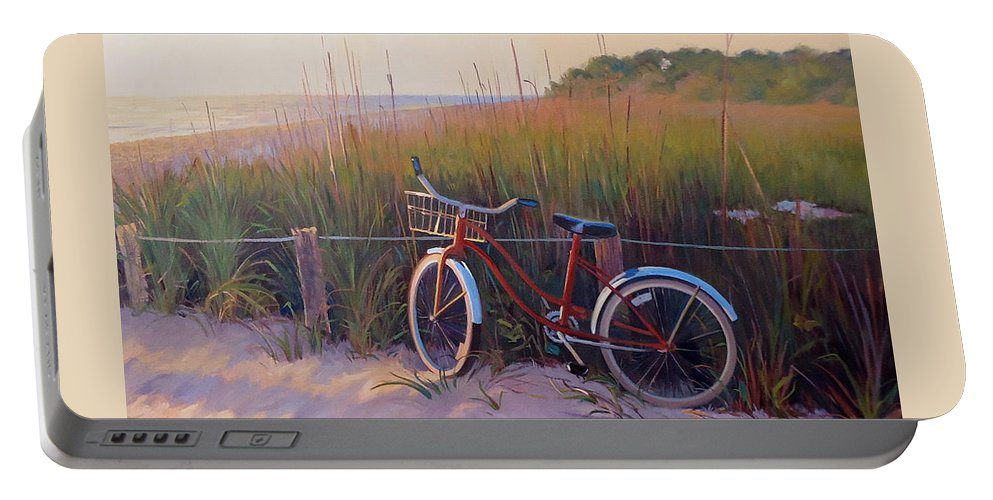 Bike Portable Battery Charger featuring the painting One For The Road by Dianne Panarelli Miller